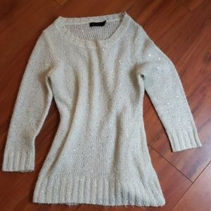 Silver Sequin White Mohair Sweater